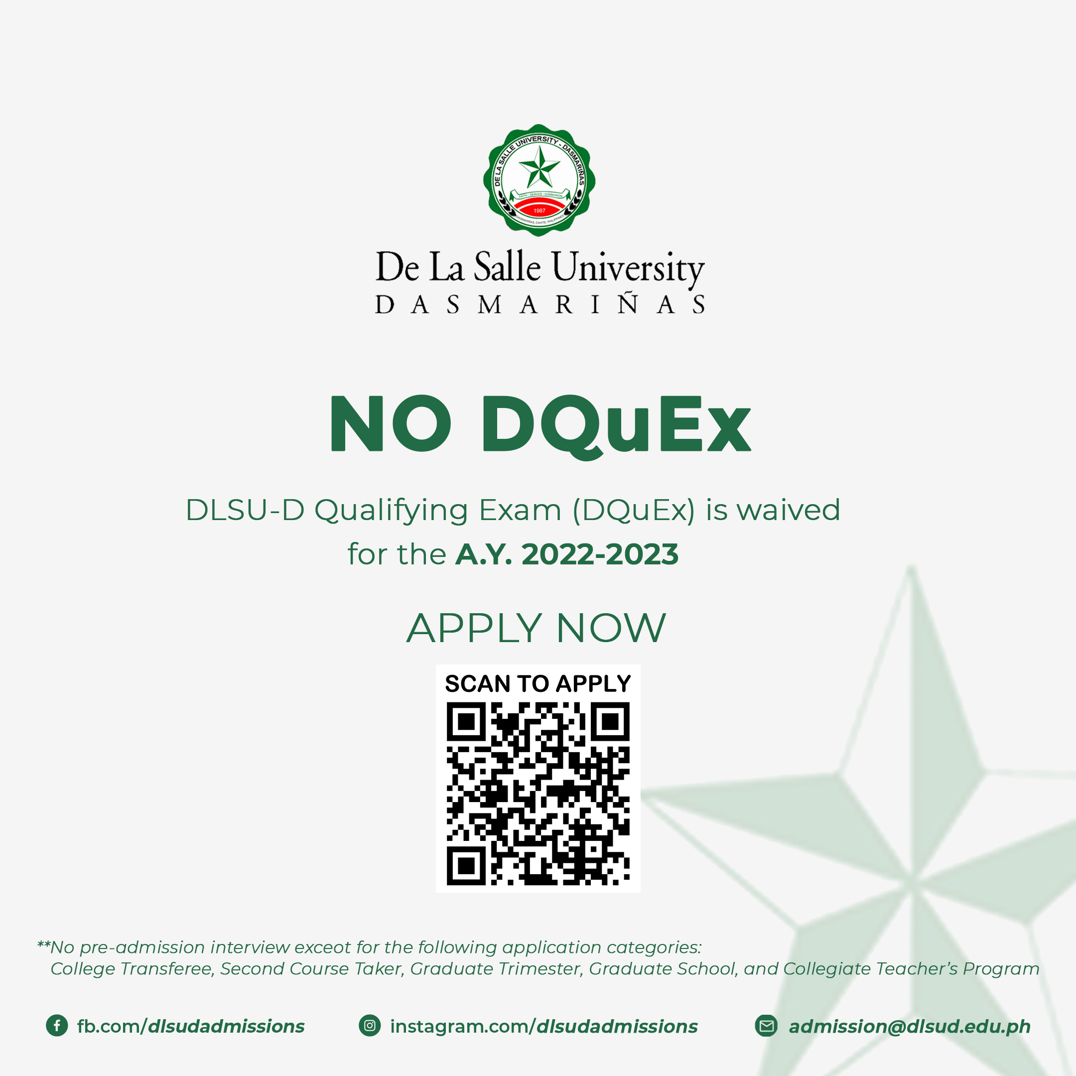 DLSU-D No DQuEX, No Interview