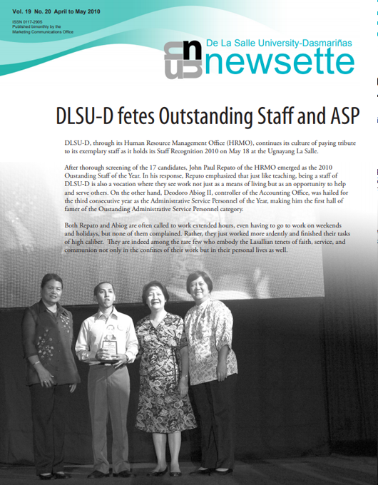 DLSU-D fetes Outstanding Staff and ASP