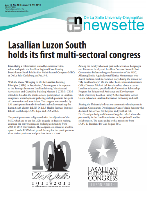 Lasallian Luzon South holds its first multi-sectoral congress