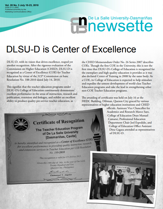 DLSU-D is Center of Excellence