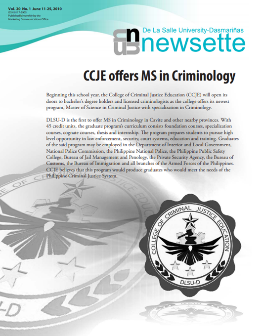 CCJE offers MS in Criminology