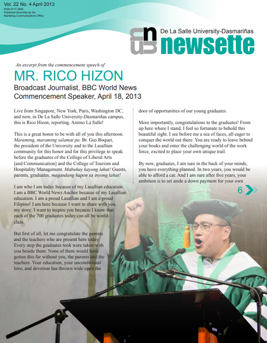 An excerpt from the commencement speech of MR. RICO HIZON