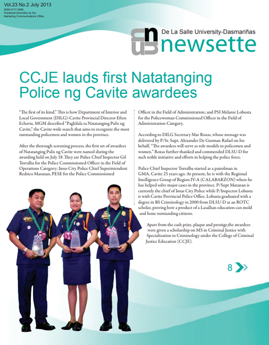 CCJE lauds first Natatanging Police ng Cavite awardees