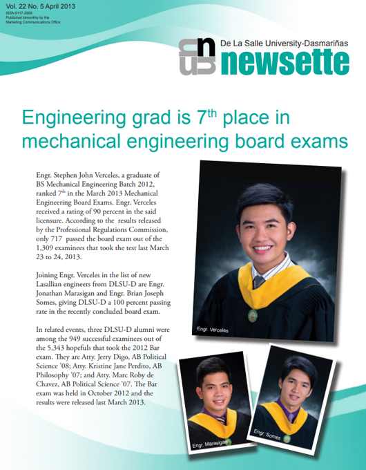 Engineering grad is 7th place in mechanical engineering board exams