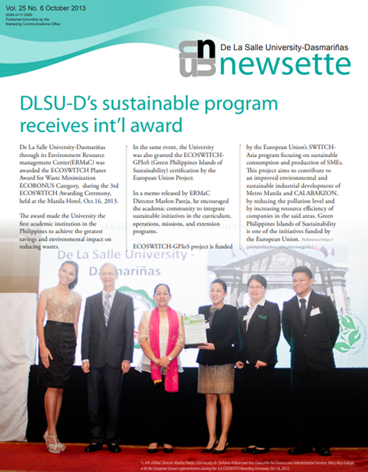 DLSU-D's sustainable program receives int'l award