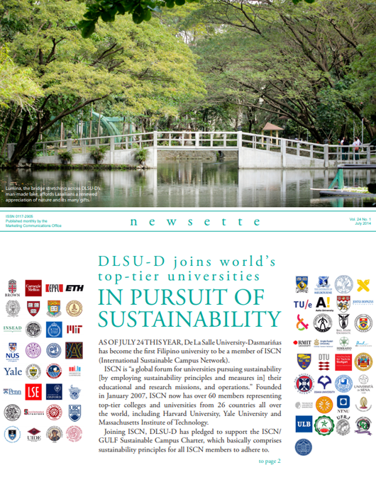 D L S U - D j o i n s w o r l d 's top-tier universities IN PURSUIT OF SUSTAINABILITY
