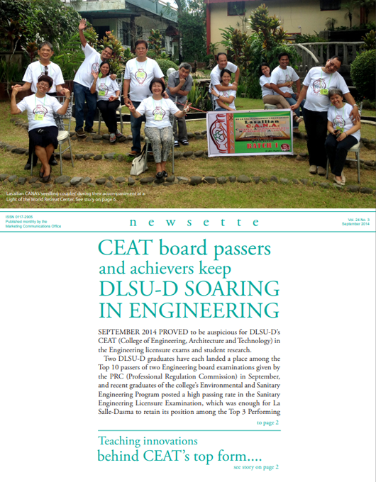 CEAT board passers and achievers keep DLSU-D SOARING IN ENGINEERING