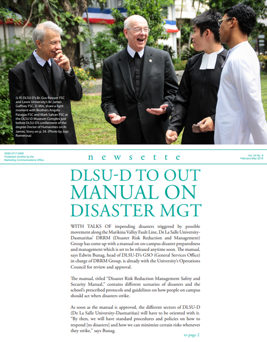 DLSU-D to out Manual on Disaster Management