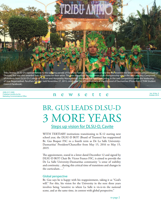 Br. Gus Leads DLSU-D 3 More Years