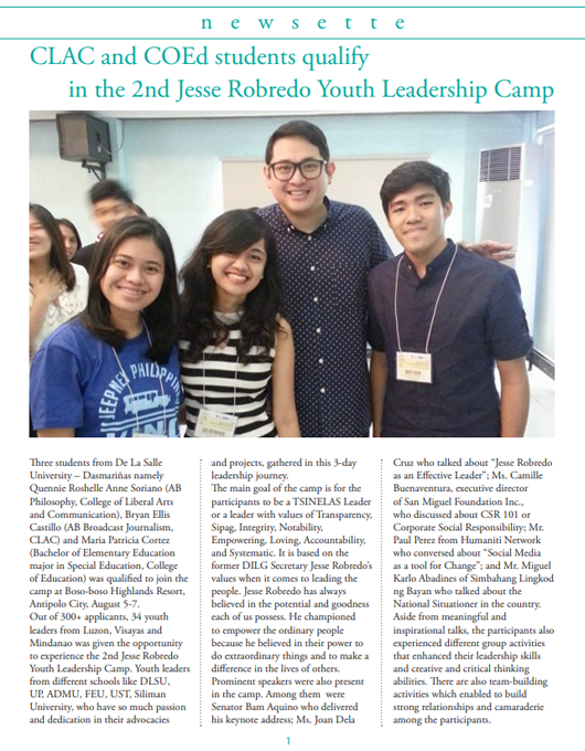 CLAC and COEd students qualify in the 2nd Jesse Robredo Youth Leadership Camp