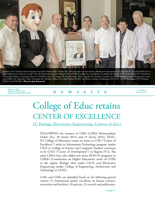 College of Educ retains CENTER OF EXCELLENCE