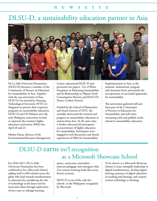 DLSU-D, a sustainability education partner in Asia