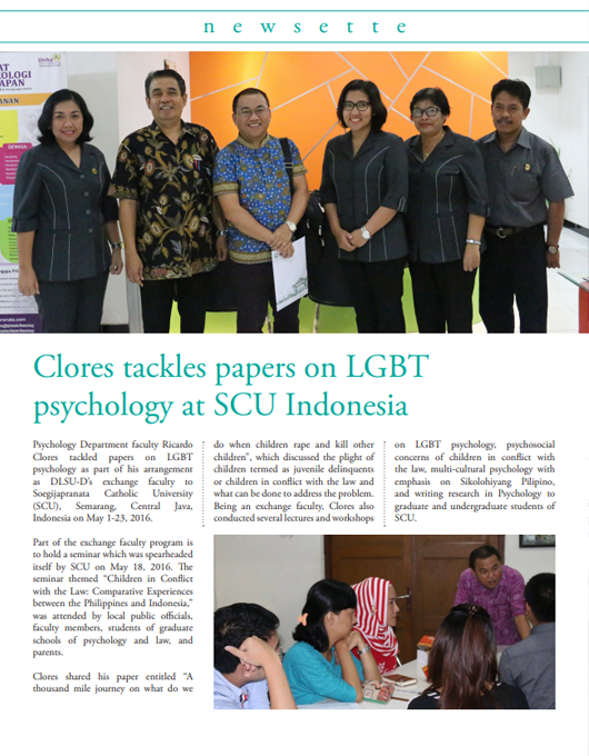 Clores tackles papers on LGBT psychology at SCU Indonesia