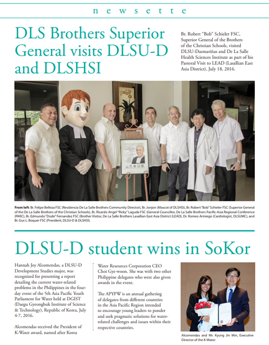 DLS Brothers Superior General visits DLSU-D and DLSHSI