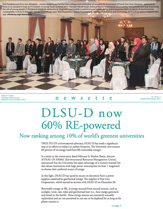 DLSU-D now 60% Re-Powered