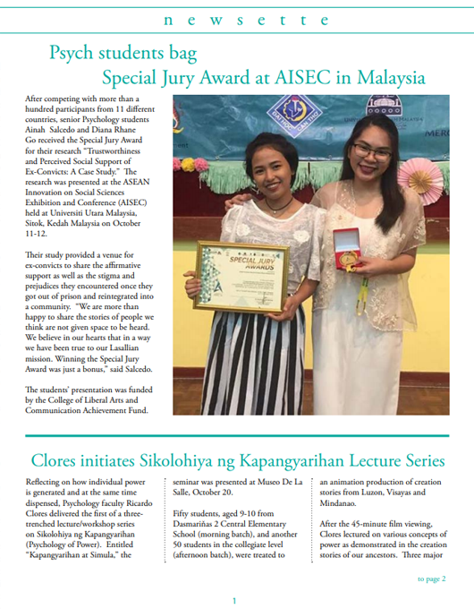 Psych students bag Special Jury Award at AISEC in Malaysia